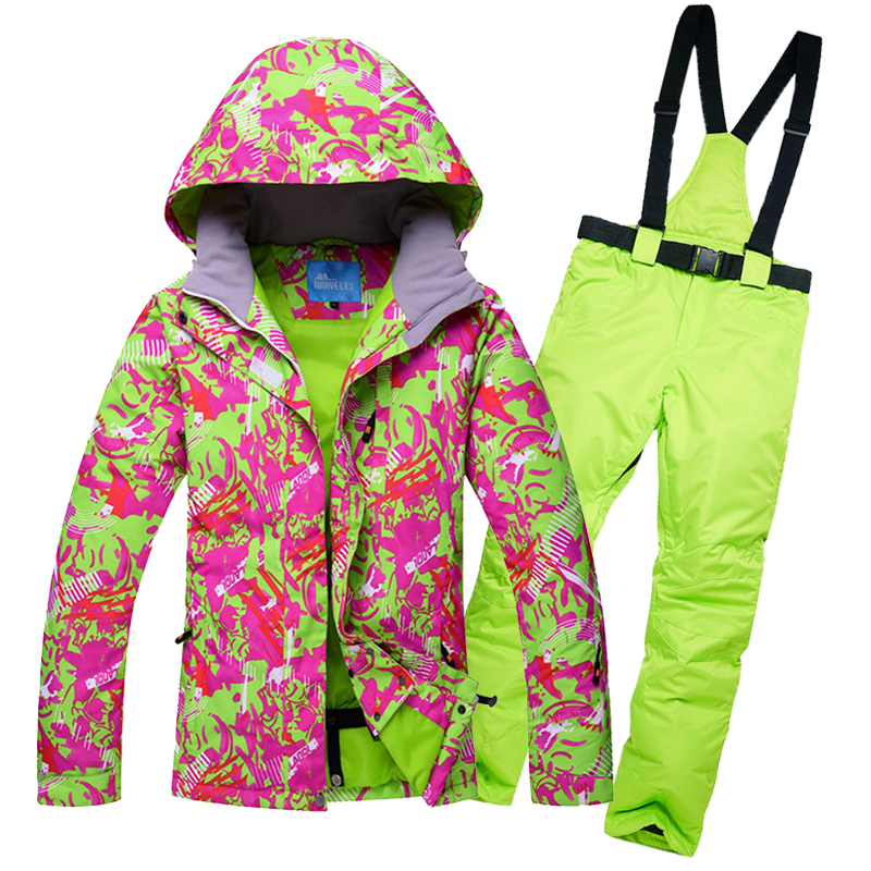 Women Ski Suit Snowboard Clothing Trouser Windproof Waterproof Skiing Jacket Pant Outdoor Sport Wear Female Winter Coat Pant New