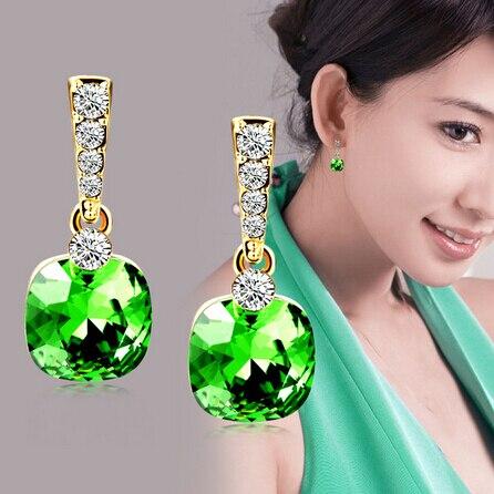 Высокое качество мода серьги стержня модные сплава цинка геометрическая горный хрусталь зеленый синий кристалл серьги заявление женские украшения