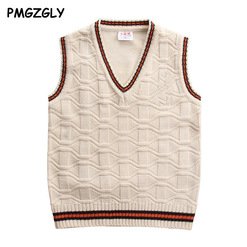 Children Vests Sweaters 3 to 10 yrs wool vest Children top quality sleeveless sweaters Kids boys pullover knitting vest coat black solid color off shoulder crop bodycon sweaters vests