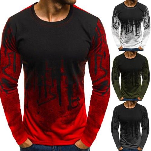 2018 NEW Trendy Flame Autumn Men T Shirt Casual Long Sleeve Slim Men's Basic Tops Tees Mens Clothing Chemise Homme