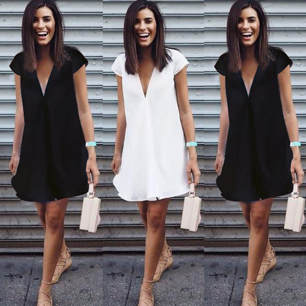 Women Girls Summer Fashion Sexy Casual Deep V-neck Short Sleeve Solid Polyester Loose Mini Dress Party Dress Daily Wear