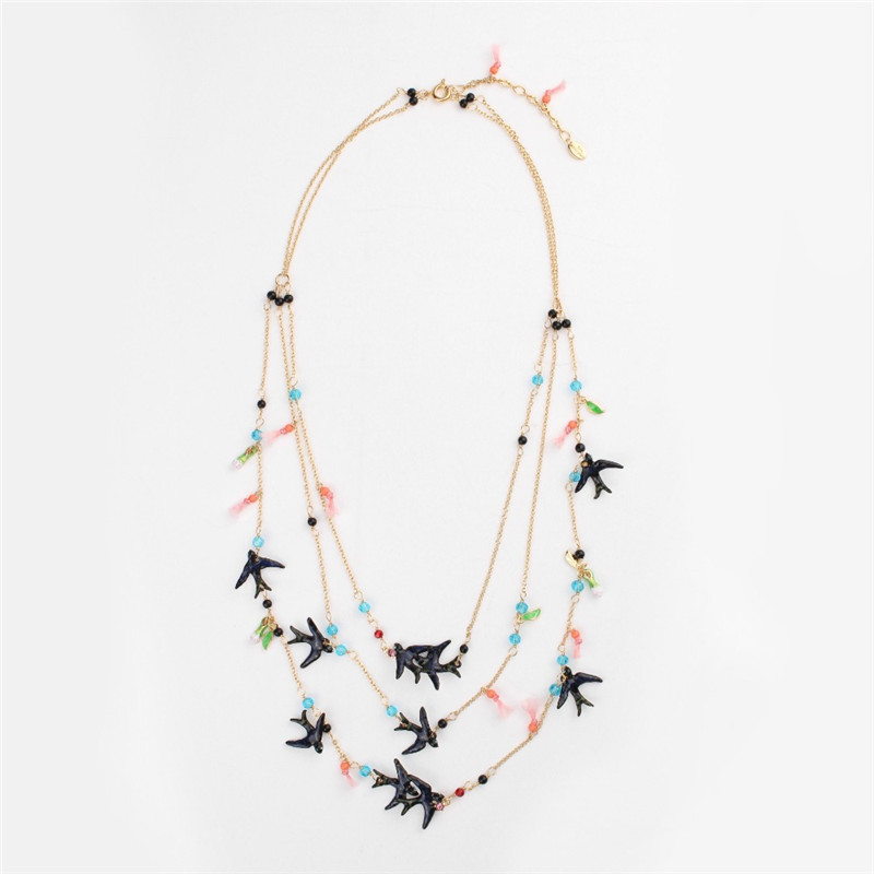 France Les Nereides Enamel Glaze Copper Fashion Cute Three Layers Swallow Women Necklace