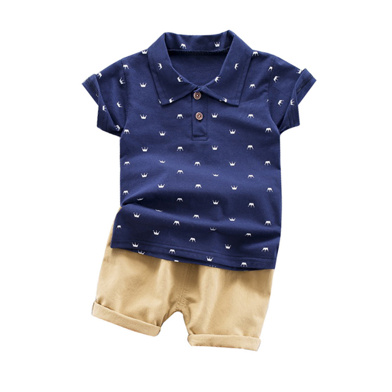 Baby Boy Clothes Set Summer Crown T-shirt For Boy Casual Kids Shorts Clothes Set Toddler Boy Shorts US Shippment image