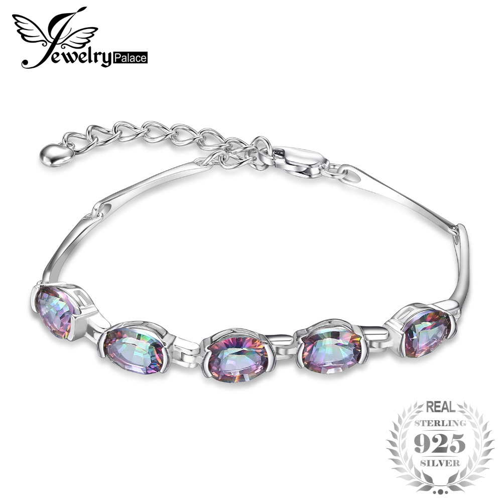 JewelryPalace Natural Mystic Topaz Genuine 925 Sterling Silver Braccialetto Chain Link Bracciale Accessori gioielli Monili delle donne