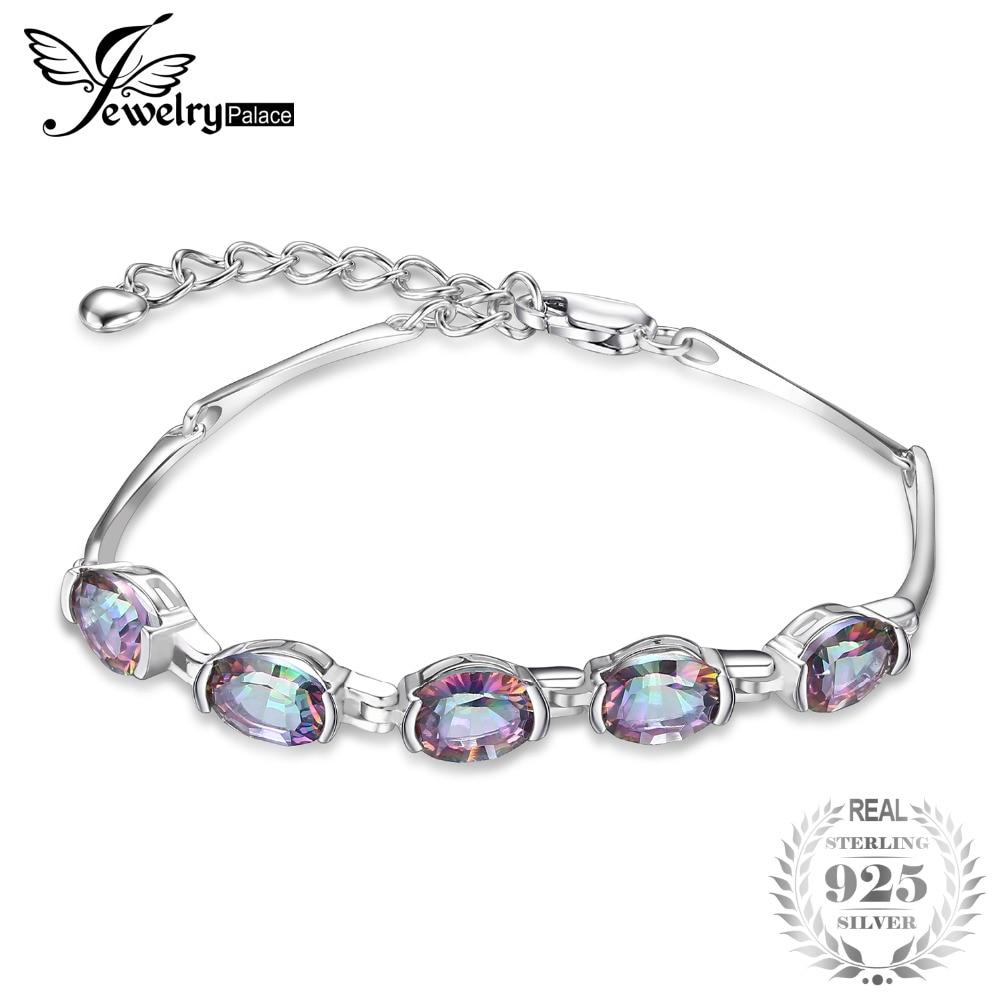 Jewelrypalace natural mystic topaz asli 925 sterling silver gelang rantai gelang perhiasan aksesoris wanita