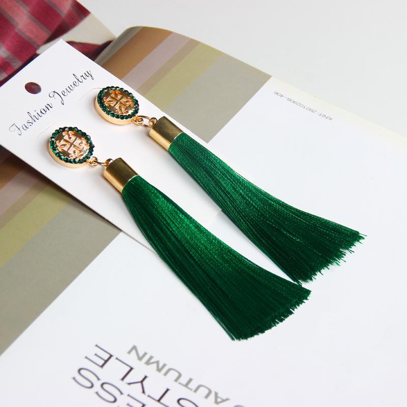 Exaggerated Rhinestone Long Tassel Earrings 2017 New Arrival Fashion Brincos Bijoux Crystal Dangle Earrings Women's Jewelry 8