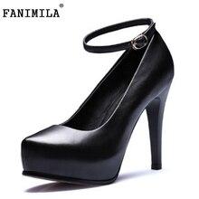 Женщины настоящее натуральная кожа тонкие туфли на каблуках бренд сексуальные дамы каблук насосы мода на высоких каблуках обувь размер обуви 34-39 R08348