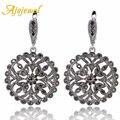 Ajojewel alta qualidade preto cristal gota de strass brincos brincos para as mulheres da moda jóias flor grande rodada do vintage