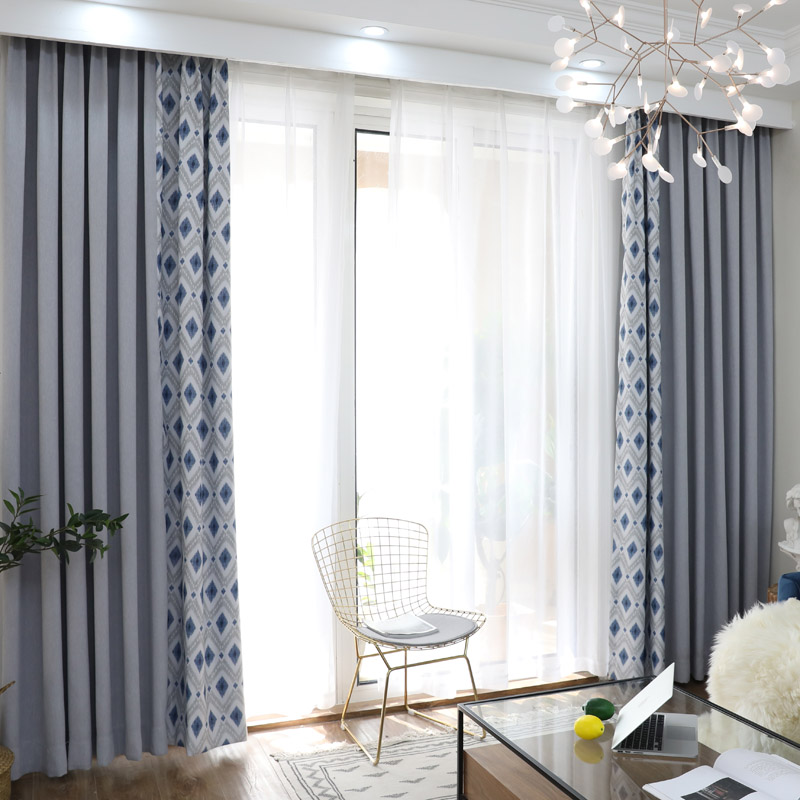 Finished Modern Blue Rhombus Grey Curtain For Living Room
