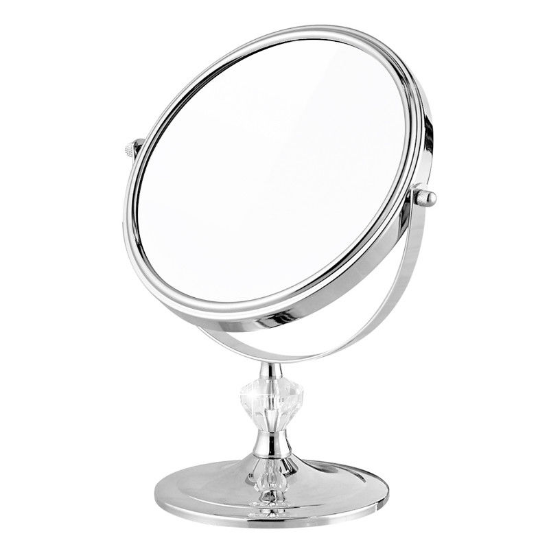 Portable Vanity Magnifying Desktop Makeup Mirror Travel Tabletop Cosmetic Mirror Double side (3X Magnification & Normal), Chrome 8 inches folding desktop makeup mirror 3x 5x 7x 10x magnifying double side mirror metal portable travel cosmetic mirror