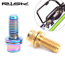 RISK Mtb Bike Bottle Cage Bolts M5*12 mm Titanium Holder Bicycle Water Screws 2 Piece