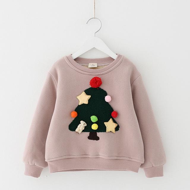 Muchachas del Invierno del otoño sudaderas con capucha sweatershirts muchacha del árbol de Navidad 2016 ropa de los niños, además de terciopelo engrosamiento de los niños jerseys tops