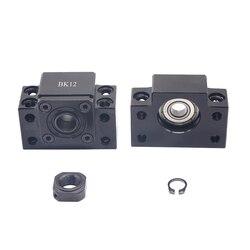 Ballscrew End Supports 1pc BK12 + 1pc BF12 1605 1604 1610 ballscrew End Support 10mm CNC Parts for SFU1605 SFU1604 SFU1610