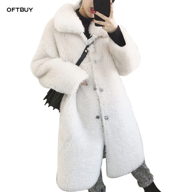 OFTBUY 2019 Long Parka Real Fur Coat Double-faced Fur Winter Jacket Women Natural Wool Lamb Fur Warm Thick Pu Leather Liner New