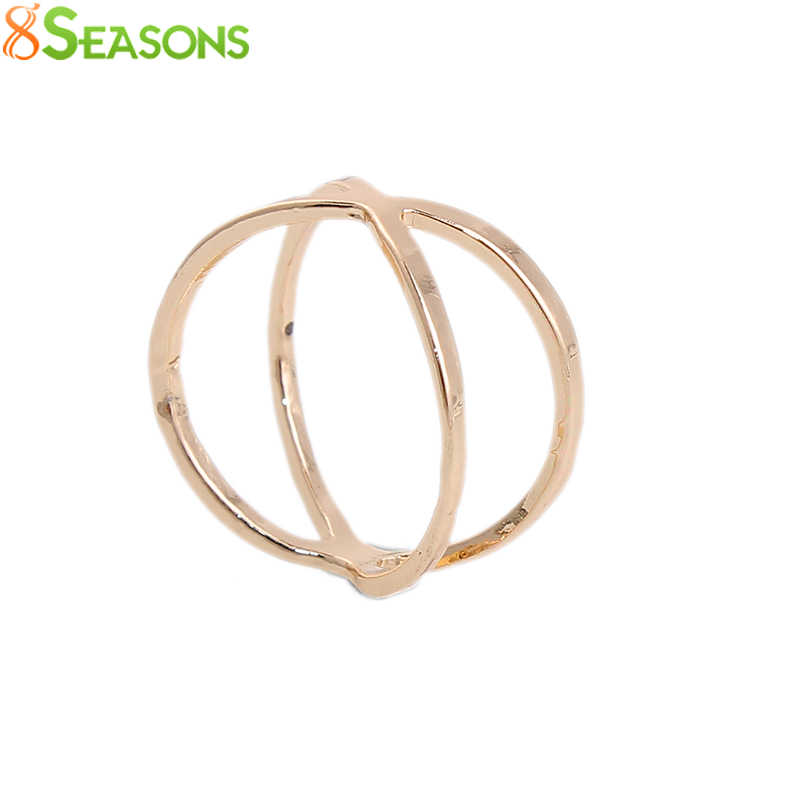8SEASONS 2016 Girl X Shape Rings Rose gold-color dull silver-color Finger Gelenke 3D Hollow Cross Ring Woman, 1 Piece