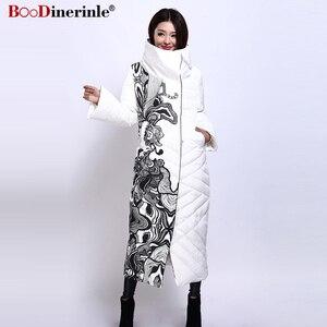 Image 4 - Winter Jacke Frauen X Lange Druck Dünne Dicke Weiße Ente Unten Mantel Elegante Mode Weibliche Warme Mantel BOoDinerinle YR159