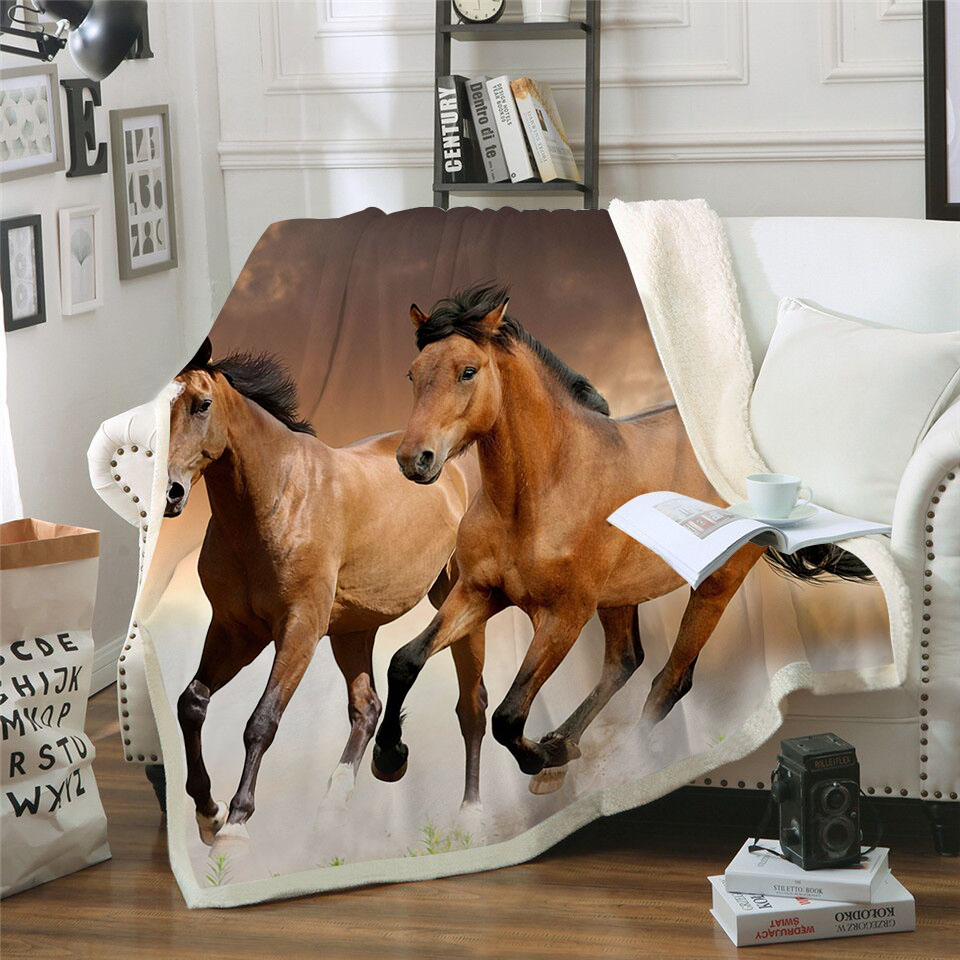Running Brown Horse 3D Print Bedspread Sherpa Blanket Couch Cover Travel Youth Bedding Outlet Velvet Plush Throw Fleece Blanket