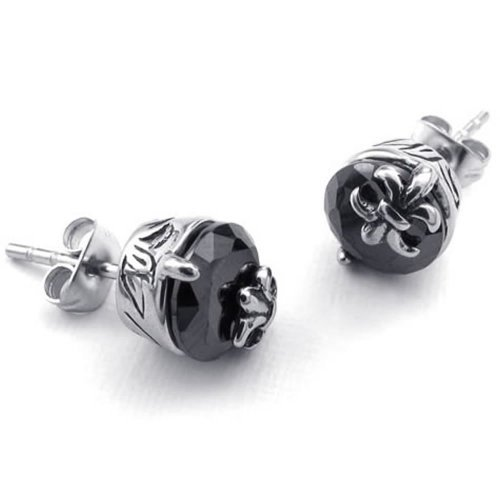Mens Womens Cz Stainless Steel Vintage Gothic Fleur De Lis Stud Earrings Black Silver