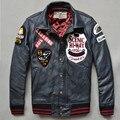 fashion baseball jacket badge genuine leather jacket men black leather motorcycle jacket bomber jacket winter leather coat men