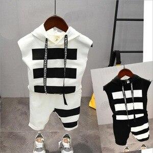 Image 1 - תינוק בני בגדי סטי קיץ כותנה מכתב מודפס ילד סטי 2PCS T חולצה + ילדי מכנסי חליפת 2 6years