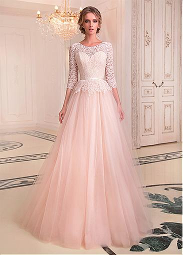 Image 2 - Fashionable Tulle & Lace Jewel Neckline A line Wedding Dresses With Belt Lace Bridal Gowns Illusion Robe De Mariage Floor Length-in Wedding Dresses from Weddings & Events
