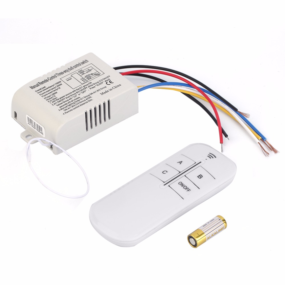 3 Way ON/OFF Switcher Splitter Digital RF Remote Control wall Switch Wireless 220V For Light Lamp Anti-Interference White