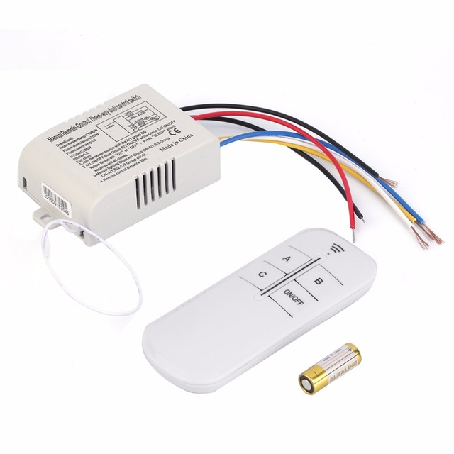 3 Way ON/OFF Switcher Splitter Digital RF Remote Control wall Switch ...