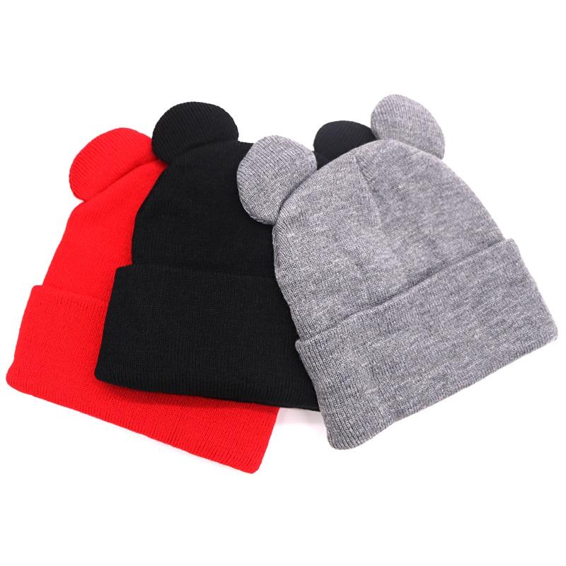 1pcs Fashion Autumn Winter Women's Hat Female Beanie Hat Cute Knit Warm Caps Ear Shape Warm Hat Ladies Skullies Cap Bonnet Femme