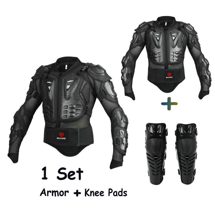 Бесплатная доставка 1set мотоцикл эндуро куртка Защитное снаряжение мужчины куртка мотоцикла Броня наколенники