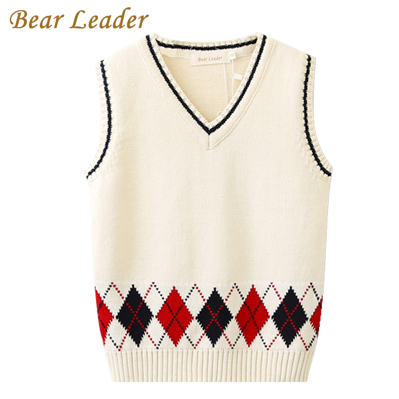 Bear Leader Boys Sweater 2017 New Autumn Boys Sweater Baby Boys Sweater Kids Geometric Preppy Style Knitted Kids Vest For 3-7Y