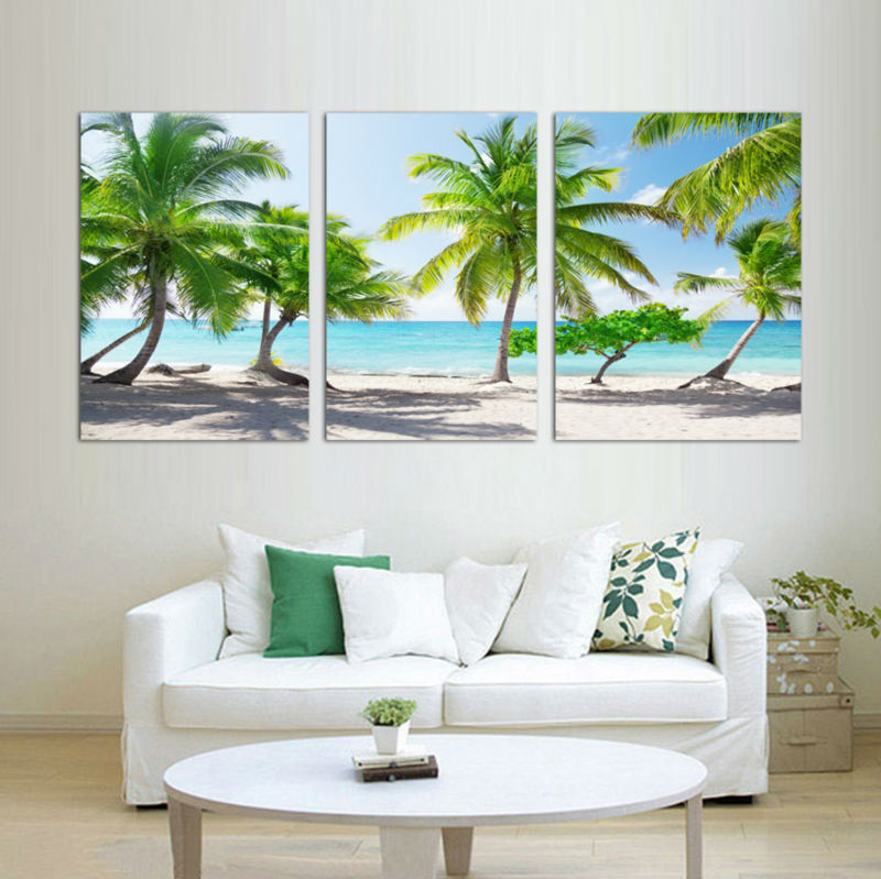 3 Pieces Coconut Tree Beach Scenery Printed Canvas Painting Modern Home Decor Landscape Oil Painting Drawing Room Wall Pictures
