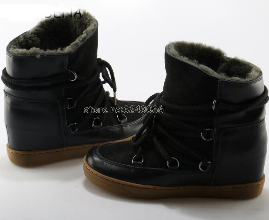 Hiver chaud fourrure peau de mouton doublé cuir bottes compensées cheville neige bottes deux lacets talon 8cm femmes chaussures chaussures décontractées livraison directe - 4