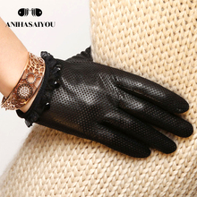Spring fashion women leather gloves sheepskin perforated breathable single touch - L006N