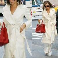 2018 Autumn Winter Women Fashion White Wool Coat Long Woolen Coats Outwear Ladies Belt Cashmere Overcoat Plus Size Feminina