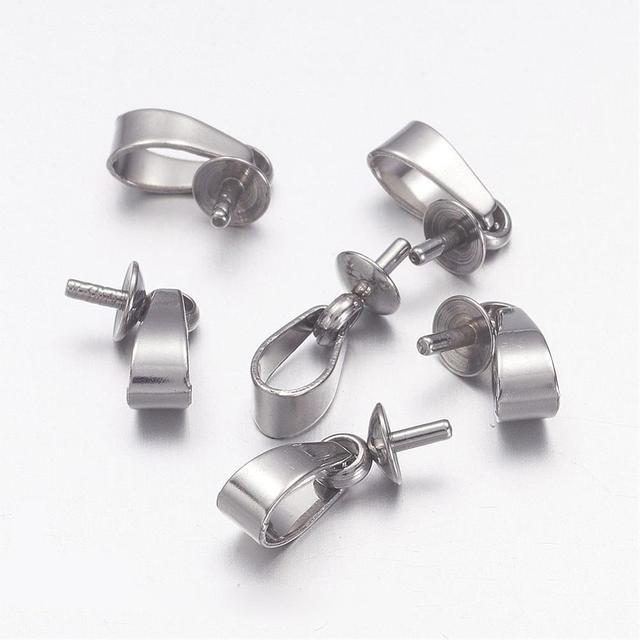 Aliexpress buy 304 stainless steel pendant bails for half 304 stainless steel pendant bails for half drilled beads 12x4mm pin 1mm aloadofball Gallery