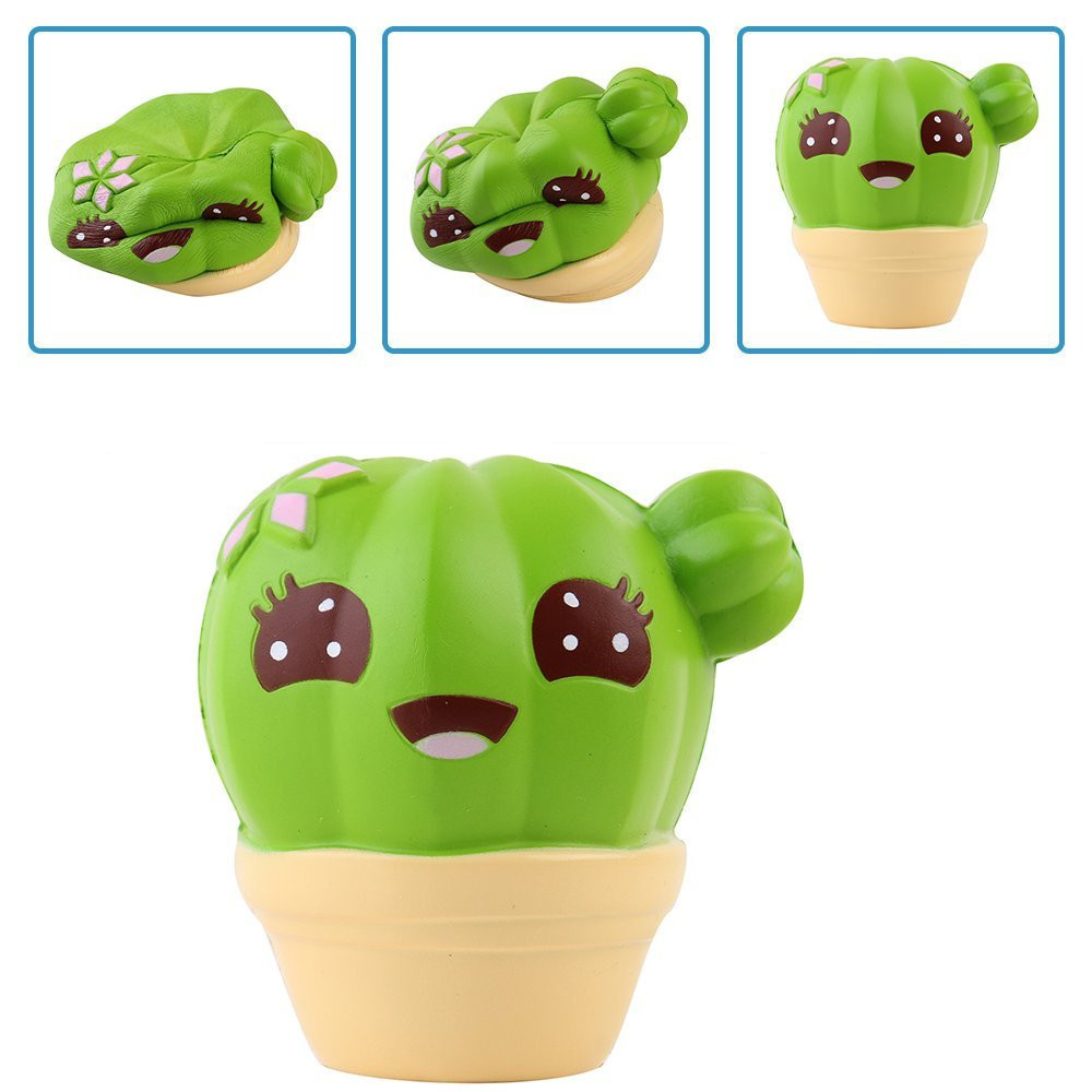 Creative Mini Cactus Cream Scented Squishy Slow Rising Squeeze Strap Kids Christmas Toy Kids Children Baby Toys New