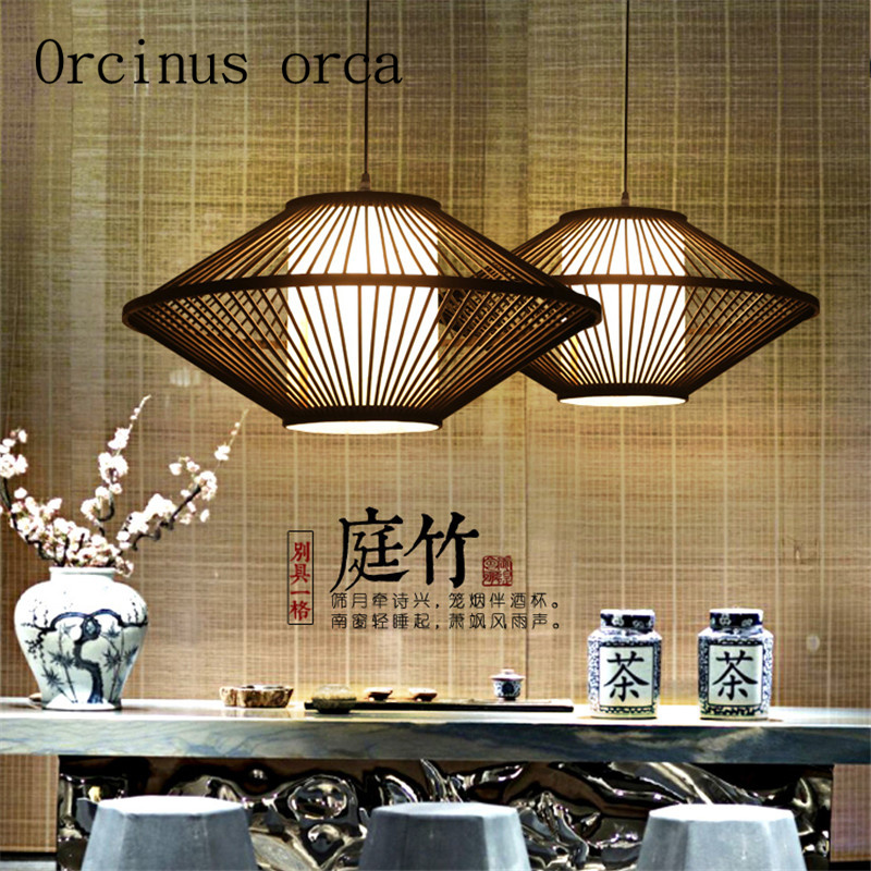 Creative southeast Zhubian lanterns Japanese Restaurant Chinese restaurant tea zen lamp chandelier Chinese wind Postage free chinese style wooden 1 2 3 heads lamps chinese restaurant new classical restaurant chandelier wooden sheepskin chandelier