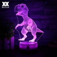 Cartoon Animals Dinosaur 3D Visual Lamp 7 Color LED Children S Room Decoration Touch Night Lights
