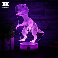 Cartoon Animals Dinosaur 3D Visual Lamp 7 Color LED Children S Room Decoration Touch Night Lights