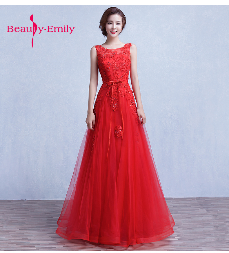 Luxury bright red Long 3D flower and beading Evening Dress Double O Neck Cheap wedding party Gown Sleeveless Prom Party Dresses