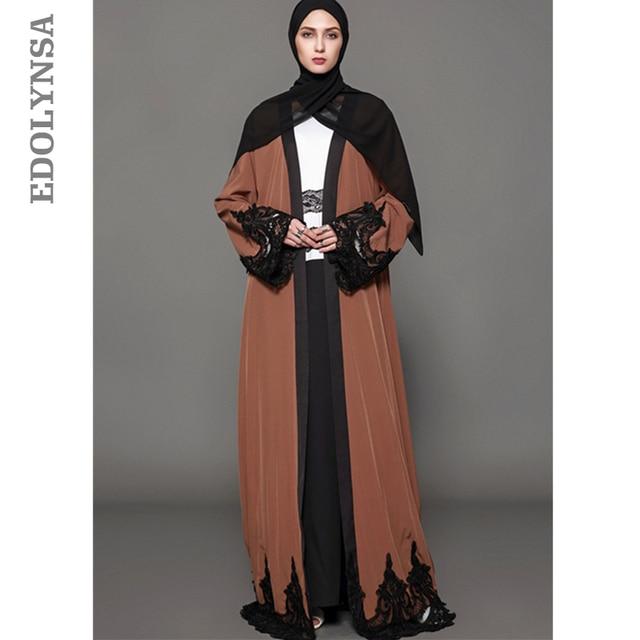 6bf1d7ee0ca Lace Patchwork Dubai Abaya Dress S-5XL Plus Size Muslim Dress Black Kaftan  Maxi Dresses Empire Robe Elegant Womens Clothing D377