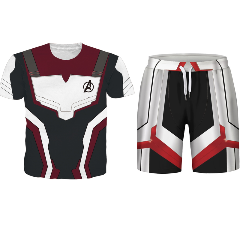 Avengers 4 Endgame Quantum Realm Men   Shorts   and T Shirt Sets Marvel Costume Advangers End Game Male Sets 2019 Superhero Suits