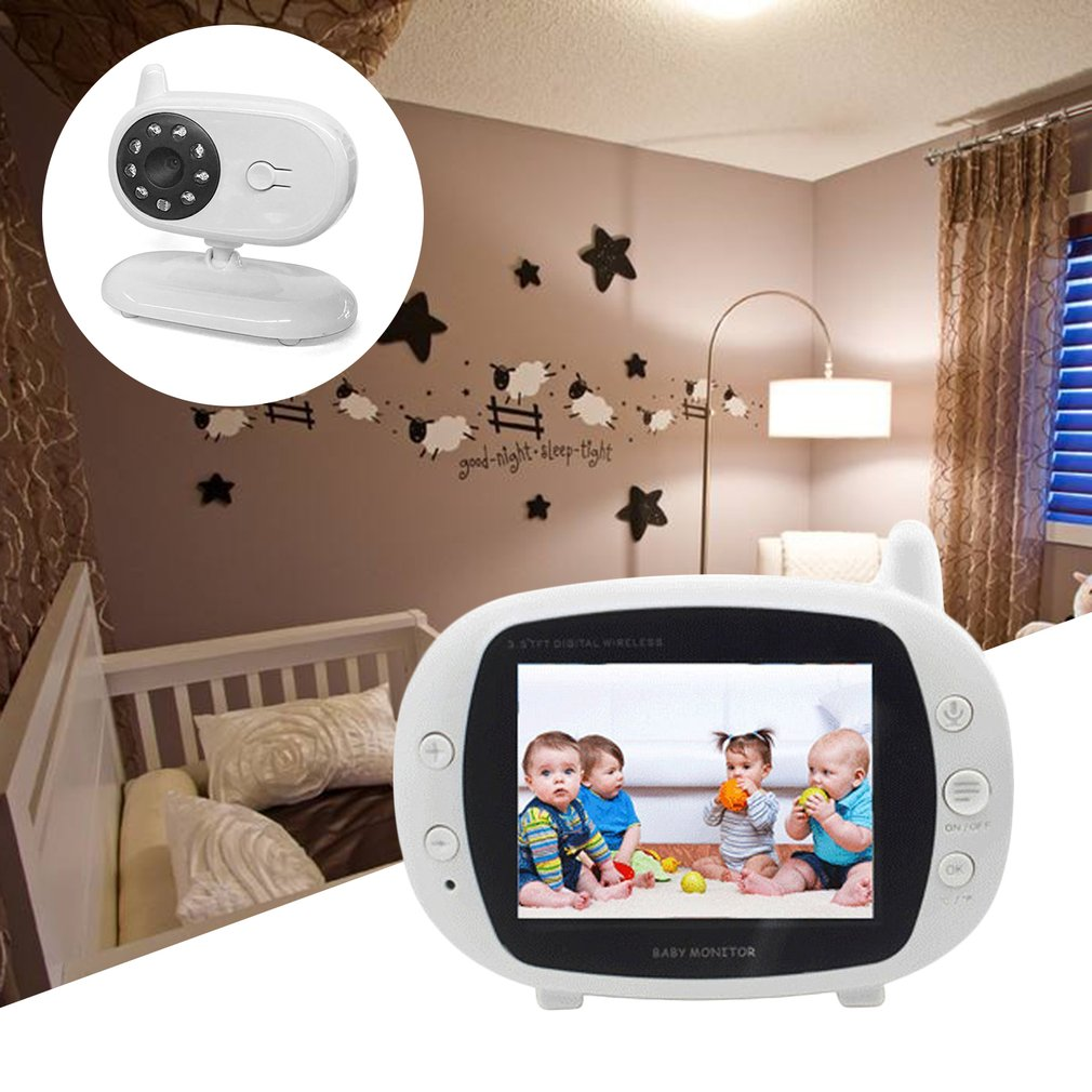 3.5 inch Baby Monitor LCD Digital Wireless Video Two Way Talk Infant Security Camera Support Night Vision Temperature Monitoring floureon 3 5 inch wireless digital baby monitor color lcd two way talk night vision audio video surveillance security camera