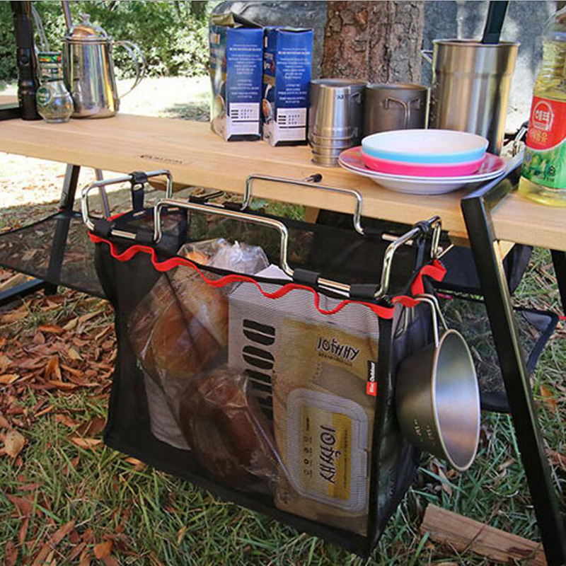 Portable Folding Iron Rack And Storage Bag Table Barbecue Picnic Large Capacity Toy Mesh Bag for Outdoor Camping Hiking/Kitchen outdoor camping hiking picnic bags portable folding large picnic bag food storage basket handbags lunch box keep warm and cold
