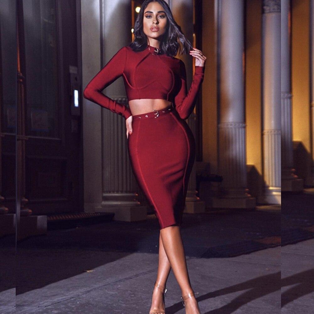 b334fe5175d Robe Sexy À Automne Arrivée Costume En Longues Vin Bandage 2018 Robes Métal  Femmes Rouge Moulante Nouvelle Manches ...