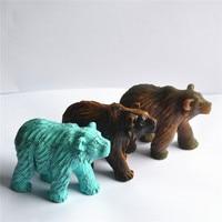 Ấn độ Mã Não Turquoises Tiger Eye Gấu Đá Tự Nhiên Khắc 3.0 inch Figurine Chakra Bead Healing Pha Lê Reiki Phong Thủy Miễn Phí