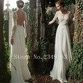 Graceful Saclloped Vestido de Novia vestido de noiva Gasa Appliques de La Manga Completa Vestido de Novia Ruffles Una Línea de Vestidos de Novia Sin Espalda