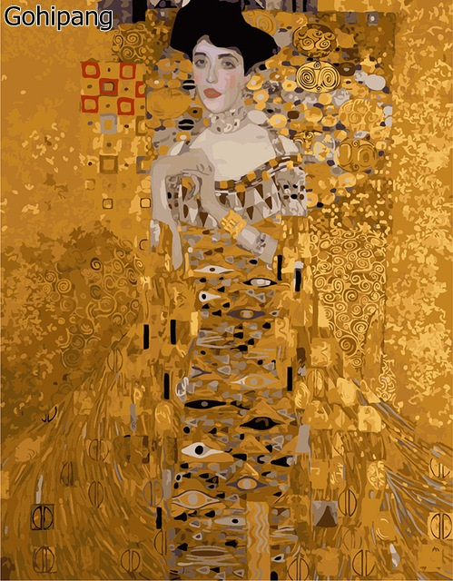 Klimt - Mrs. Bauer Frameless pictures painting by numbers hand painted linens drawing diy oil painting by numbers 40x50cm