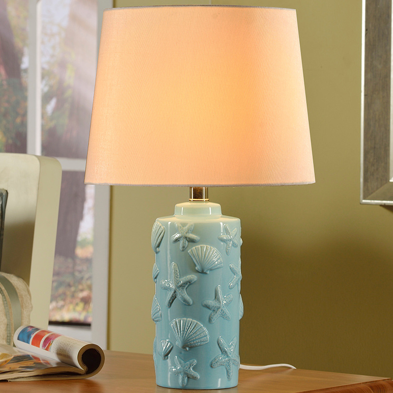 Tuda Free Shipping Mediterranean Style Shaped Seashells Ceramic Table Lamp For Bedroom Bedside Table Lamp