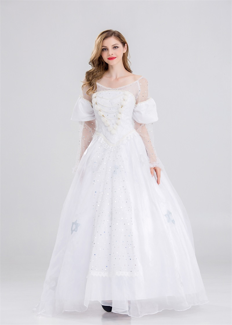 White Queen Dress ROCOCO Ball Grown Gothic Medieval Dress Cosplay Princess's Long Skirt Party Costume New Halloween Fairy Tales